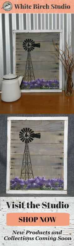 Are you looking for a unique, hand painted piece to accent the color purple in your decor? This would be a great, personal touch to your Spring and Summer decor at home or at your cottage.   Dimensions are 23 inches wide x 18 inches high  Love you more, Lavender field, windmill, pallet wall art, painting on wood, hand painted flower field, shabby white washed frame