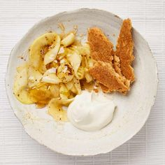 """Yotam Ottolenghi's ginger apples with coconut biscuits and coconut cream. - The """"biscuits"""" in this recipe sure sound tasty. Apple Cake Recipes, Baby Food Recipes, Sweet Recipes, Snack Recipes, Dinner Recipes, French Desserts, French Food, French Recipes, Yotam Ottolenghi"""