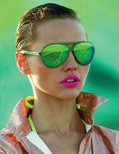 Impulsion Fluo | Sasha Pivovarova by Hans Feurer for Vogue Paris May 2011