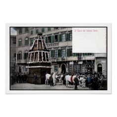 1890s Florence Italy Scoppio del Carro spectacle (Il Carro del Sabato Santo, Easter Sunday cart), posters and postcards