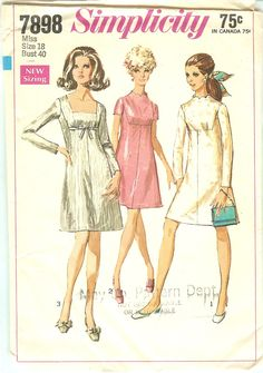 Simplicity 7898 Misses A Line Dress Pattern Funnel Square or Scallop Neck Shaped Yoke Womens Vintage Sewing Pattern Size 8 Bust 31 60s Patterns, Vintage Dress Patterns, Dress Sewing Patterns, Simplicity Patterns, Clothes Patterns, Robes Vintage, Vintage Outfits, Vintage Fashion, Vintage Clothing