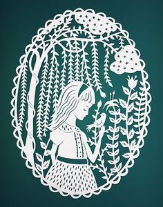 Girl in the Willow Trees - Original Papercut Illustration - Teal 8x10 Print. $22.00, via Etsy.
