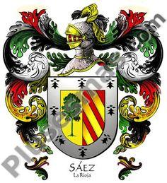 Escudo del apellido Sáez Familie Symbol, Armadura Medieval, Knights Templar, Family Crest, Coat Of Arms, Rooster, Flag, Symbols, Christmas Ornaments