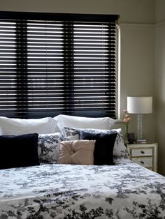 Beautiful Black Gloss Blinds are one of our many wood blinds that we supply & fit. Shown here with cords we also offer Wide Ladder Tapes to dress your blind.  For a competitive quote - like for like we will not be beaten on price or quality - call me on 01637 871862  https://www.facebook.com/pages/ZODIAC-INTERIORS-BLINDMAKERS/206646331101