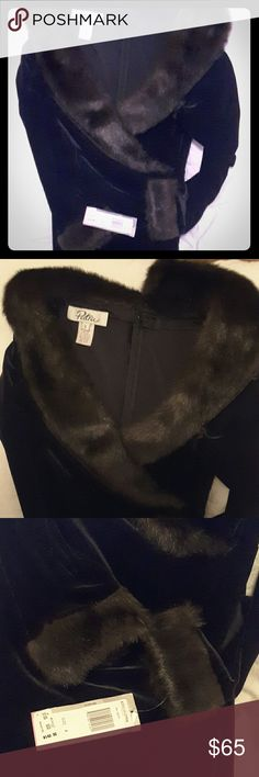 """Patra velvet and fur dress Black velvet dress with brown fur around neck and wrists. Tags attached. Split up back measures 22"""". Chest flat is 14"""", length is 57"""" down center back. Patra Dresses"""