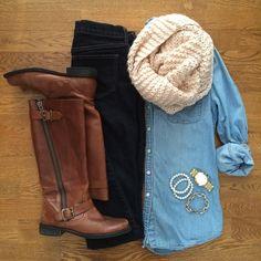 Chambray Shirt, Dark Jeans, Brown Boots, Blush Scarf | #weekendwear #casualstyle #liketkit | www.liketk.it/XQnq | IG: @whitecoatwardrobe