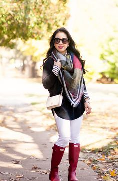 cute & little blog | petite fashion | fringe blanket scarf, express sweater, white jeans, red hunter boots, striped turtleneck | fall winter outfit