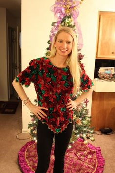 31 ugly christmas sweater ideas make a sweater with fake poinsettia flowers tacky christmas