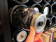 button storage using canning jars and french drain from the hardware store