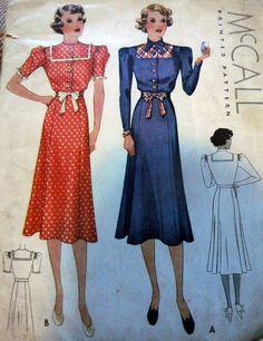 McCall 9352   1937 Junior Miss Dress