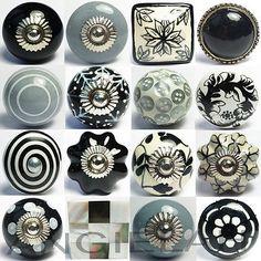 BLACK MIX & MATCH Vintage Shabby Chic Ceramic Door Knobs Handles Cupboard Drawer