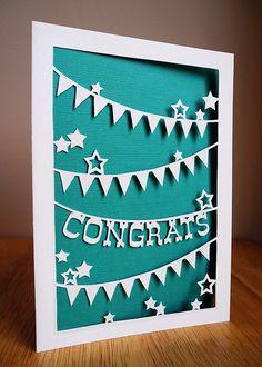 Handcut Papercut Greeting Card  Congratulations  by SarahTrumbauer, $10.00