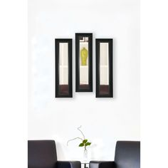 American Made Rayne Attractive Matte Black Mirror Panel (Set of 2- 9 x 25)