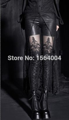 Punk Rave KERA Gothic embossed decorative pattern Strechy leggings Pants Steampunk Women fashion S M L XL XXL 3XL 4XL K144