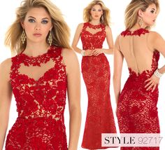 Camille La Vie Red Lace Long Evening Gowns and Dresses