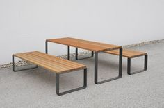 Mayfield Table and Banch - Out-sider Types Of Furniture, Furniture Ideas, Rooftop Deck, Street Furniture, Landscape Architecture, Dining Bench, Relax, Table, Chairs
