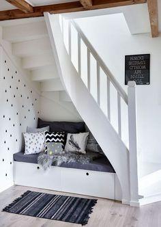 60 Genius Storage Ideas For Under Stairs House Stairs genius Ideas Stairs Storage Stairs In Living Room, House Stairs, Basement Stairs, Under Stairs Nook, Stair Storage, Basement Storage, Basement Kitchenette, Staircase Design, Stair Design