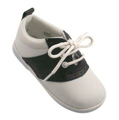 Angel. Angel Baby/ Toddler Leather Saddle Shoes in White & Black, Berry Styles Kids Shoes