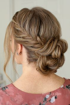 Fishtail French Braid Double Bun - Hairstyles For All Box Braids Hairstyles For Black Women, Simple Wedding Hairstyles, Braided Hairstyles, Cool Hairstyles, Medium Hairstyles, Bridesmaid Hair, Prom Hair, Wedding Hair And Makeup, Hair Makeup