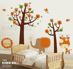 Free Shipping - Safari wall decal, Tree,Animal, Kids, elephant, giraffe, lion Wall Decals Wall Sticker  - KK130 on Etsy, $175.00