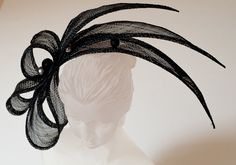 Amazing BLACK SINAMAY FASCINATOR with Swarovski by ancoraboutique