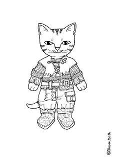 Karen`s Paper Dolls: Cat Brother Dressed to Print and Colour. Kattebror klædt på til at Printe og farvelægge.