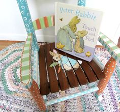 Child Rocking Chair  Painted Furniture  Baby Shower by WhimsyBurd, $138.00