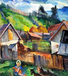 Zsögödi Nagy Imre (1893-1976) - Zsögöd courtyard Painters, Artists, Paisajes, Artist
