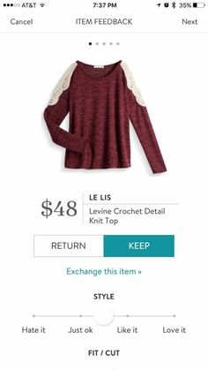 Really interested in this top. Love the color and style and so interested in the crochet details