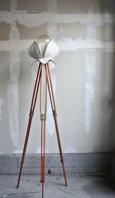 Stunning Silk Lotus Flower Tripod Lamp - French Chic Decor - Vintage Wood Tripod - Ornate Floor Lamp - Novelty Floor Lamp - OOAK