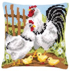 Rooster Family Cushion Front Chunky Cross Stitch Kit | sewandso