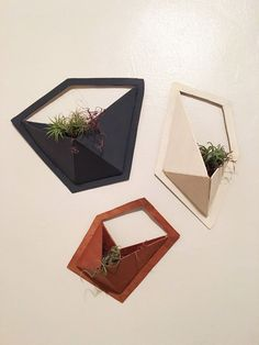 DIY Geo Wall Pocket Shelves That Double as Wall Planters