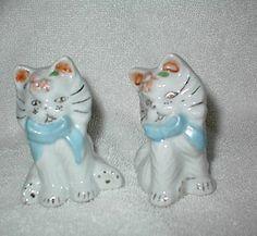 Vintage Gold-Accented Kittens Salt & Pepper Shakers - Cork Stoppers - Japan Mark