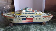 Vintage Tin Litho Toy Boat-  WYANDOTTE SS AMERICA Cruise Ship -1950s in Toys & Hobbies, Vintage & Antique Toys, Tin, Vehicles | eBay
