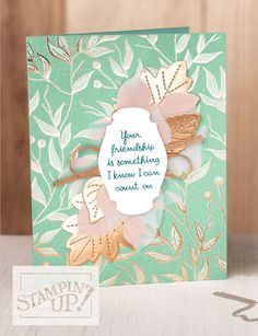 Copper & gold foil accented designer paper and die cut foil leaves.