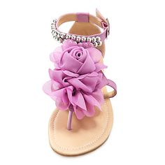 Leatherette Flat Heel Sandals / Flats With Satin Flower Beading Party & Evening Shoes (More Colors Available) - USD $ 35.99