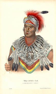 """Chief Wapello; """"Wa-pel-la the Prince, Musquakee Chief"""", from History of the Indian Tribes of North America."""