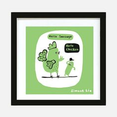 Hello Chicken Print Green now featured on Fab.