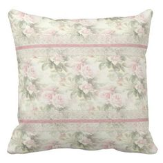 """Lacy Ribbon """"Misty Rose"""" Throw Pillow"""