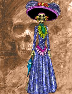 •  Catrina or skeleton lady sculpture was originally depicted on clay in Capula, Michoacan by painter and sculptor Juan Torres in the 1980's. Thanks to the town's millenary pottery tradition soon its craftmen followed the sculptor's school and the delicate and detailed clay Catrinas from Capula became world famous. The skeleton lady sculpture is now reproduced on wood, papier maché, paper, plaster and even bread dough all around the country ant it has became an icon in Day of the Dead art.