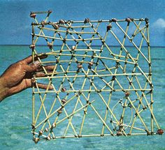 No strangers to long-distance navigation, Marshallese once voyaged by 'stick-chart'. They fixed positions between atolls - the shells - by interpreting wave patterns indicated by the sticks.