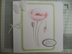 Digital Hybrid Happy Birthday card (or can be for any occasion).Made using Serif Craft Artist software.  Beautiful delicate poppy.