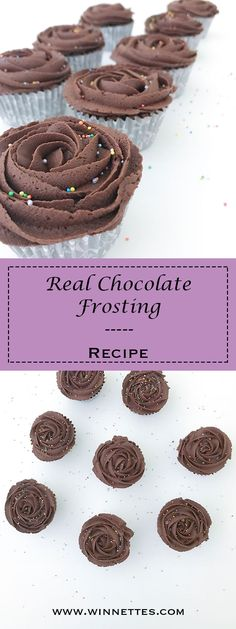 Real Chocolate Frosting perfect for cupcakes or cakes. Seriously delicious and easy to make frosting.