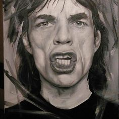 """@Regrann from @johannaknopoff - """"Paint It black""""  Oil 50 x 70 cm. Step by step of a painting of one of my favourite persons In the world.  Best of lucks for #martinameetstones really hope you can meet him someday.  #art #oilpainting #artgallery #fanart #therollingstones #mickjagger #artwork #painting"""