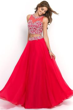 2015 Scoop Prom Dresses A Line Chiffon Beaded Bodice With Long Chiffon Skirt Two Pieces