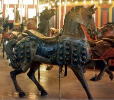 The Dentzel Carousel at Glen Echo Outside Row Stander - Sleigh Bell Horse Before Restoration. Notice the dark varnish and park paint.