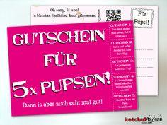 Wellness - Gutschein für 5 x PUPSEN! Die Postkarte! - ein Designerstück von ketchupbrause bei DaWanda