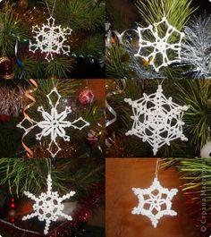 Новый год Вязание крючком снежинки Нитки