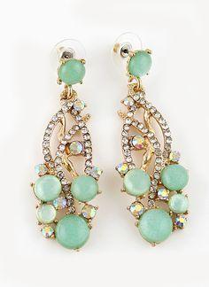 Green Gemstone Gold Crystal Earrings