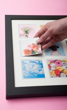 This handcrafted wooden wall frame is magnetic allowing you to switch the little photo magnets, keeping your home decor fresh and creative always! Photo Craft, Diy Photo, Idee Diy, Photo Magnets, Love Craft, Photo Displays, Frames On Wall, Craft Gifts, Diy Art